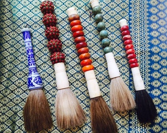 Vintage Japanese Calligraphy Brushes in Choice of Blue & White Porcelain, Red Gems, Orange Jade, Green Ceramic, or Red Jade.