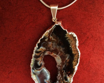 Silver Geode Agate Druzy Slice Necklace