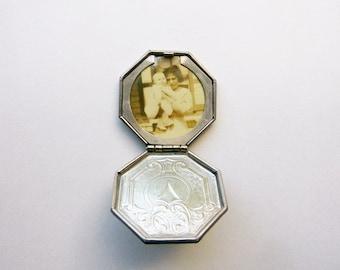 Edwardian locket sepia tone mother with baby photographic portrait art deco design pendant