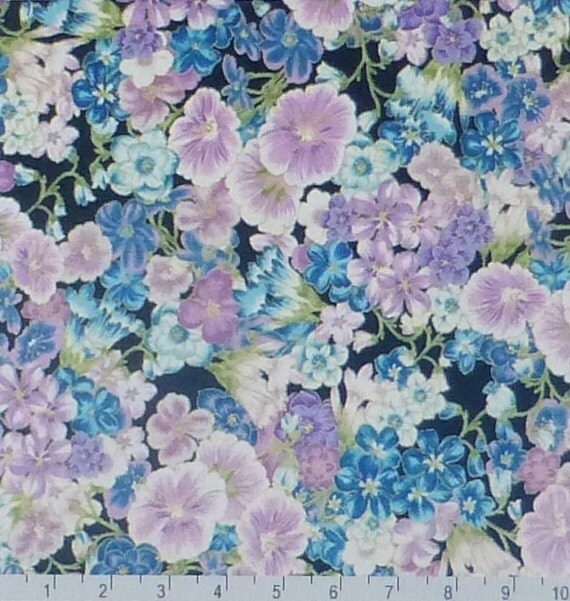 Grand Majolicanavy Floralcotton Fabric By Suesfabricnsupplies