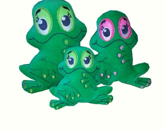 Embroidery design Kimmy the frog and his family