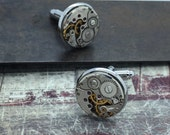Steampunk cuff links gear cufflinks - Handcrafted artistic jewelry -The Victorian Magpie