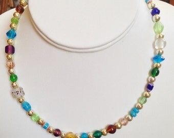 Multi Colored GLASS BEADED Necklace