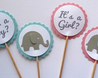 24 It's A Boy, It's A Girl, Gender Reveal, Blue Pink, Gray Elephant, Baby Shower, Toothpick Cupcake Toppers, Food Picks, Theme Party Picks