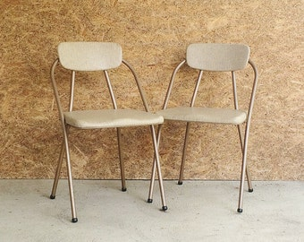 Modren Vintage Metal Folding Chairs Two Mid Century Vinyl By Stylaire Stylish With Decor
