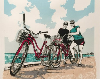 Bikes Serigraph - Poster -Bikes 'N Beach (screen print) Limited edition, - by Kiss a Cow