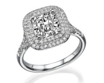1.36 ct halo diamond Engagement ring platinum cushion F si2 model jr-dbl-cu