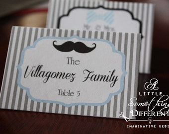 Little Man Blue and Black Striped Place Cards / Mustache and Bowtie Place Cards / Tent Cards / Gray Striped Place Cards Baby Shower