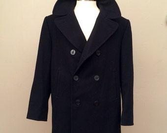 Vintage peacoat, black wool, naval issue