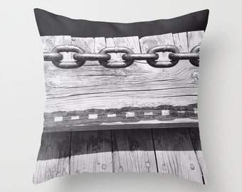 Pillow Cover, Decorative, Chain, 6 sizes,home decoration,country decor,interior design,black,white, shadows,metal,holiday gift,modern pillow