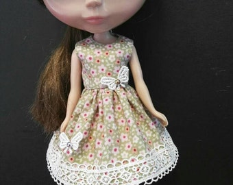 Blythe Doll Outfit Cloth flowers print green Dress