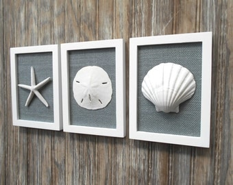 Cottage Chic Set of Beach Wall Art, Nautical Decor, Beach House Wall Decor, Sea Shell Art, Beach Decor, Coastal, White & Smoky Grey Burlap