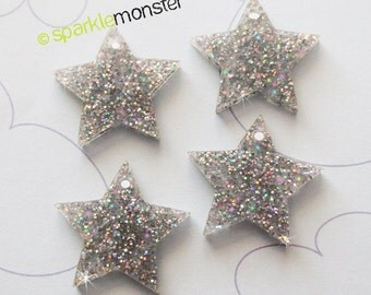 Iridescent Star Charms - 4 pcs, glitter, laser cut acrylic, snowflake, glitter