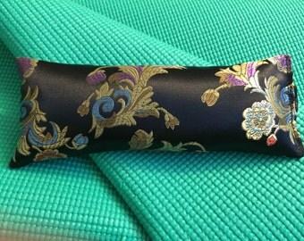 Organic Lavender Silk Eye Pillow, Eye Pillow,Silk Eye Pillow, Lavender and Flax Seed Eye Pillow,Yoga Eye Pillow,Black Silk Floral Eye Pillow