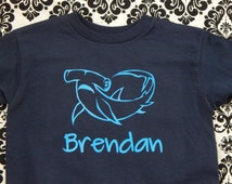 Hammerhead Hammer Head SHARK  Personalized Kid's t-shirt tee shirt with any name - many colors and sizes