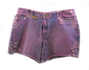 purple shorts, purple denim shorts, vintage shorts, grunge shorts,  size 16,  # 59