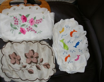 Vintage Handmade Madeira Embroidered Linen Purse - 3-in-one Interchangeable Covers, Pearl Buttons, Wood Handles, CUTE For Summer!  HTF