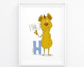 Instant download Nursery art, H is for Hyena, Nursery Decor, Alphabet letter, Cute nursery print, Letter H, Boy's Room