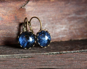 Blue earrings, 12 mm, bronze