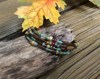Picasso Beaded Bracelet, Beaded Wrap Bracelet, Autumn Colors, Multi Earth Colors, Layering Bracelet
