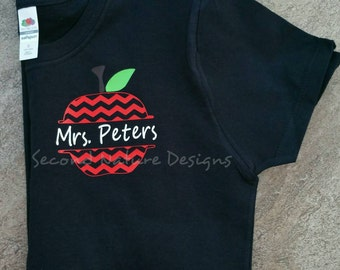 Short Sleeved Crew Neck Personalized Chevron Apple Teacher T-Shirt | Monogrammed Apple Shirt