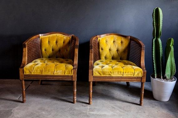 Vintage Gold Yellow Velvet Chair Pair