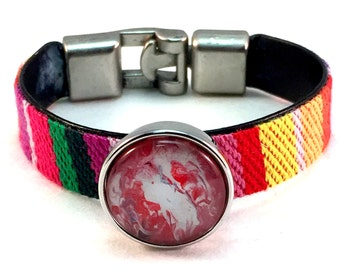 Ethnic Fabric Multicolor Snap Bracelet Snap Jewelry Ginger Snap Charm Noosa Style Chunk Cloth Bracelet Popper Snap Pictured Snap Included