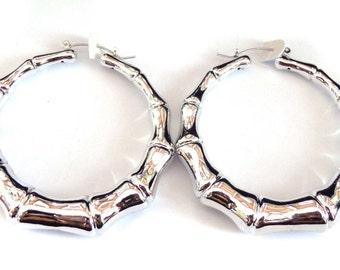 VINTAGE Earrings BAMBOO HOOP earrings 2.5 inch Silver Tone Bamboo Hoop Full Shiny Hoop Earrings