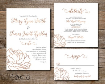 Printable Rose Gold Wedding Invitation,RSVP & OPTIONAL Reception Card-Print Yourself-Digital File