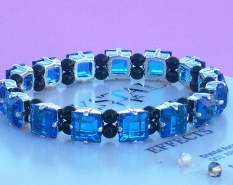 Black Pearl and Capri Blue Square Crystal Stretch Tennis Bracelet made with Swarovski Crystal Elements by LadyCJewellery