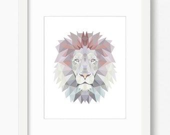 Lion print, Lion art, Lion wall art, nursery decor, nursery wall art, nursery art, nursery prints, geometric lion, geometric print printable