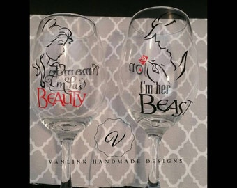 Beauty and the beast wine glasses