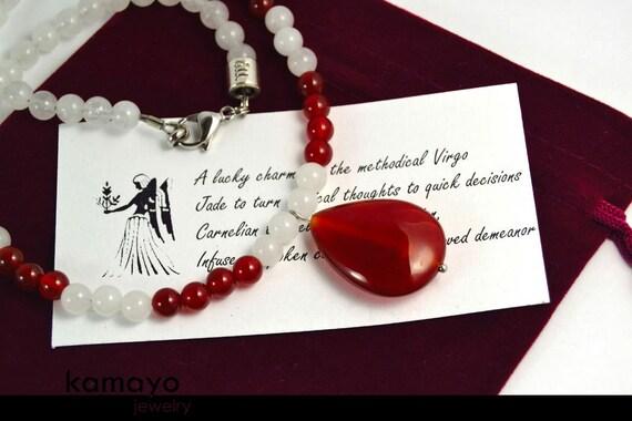 VIRGO NECKLACE - Carnelian Pendant & White Jade Beads - 17 1/4 Inches