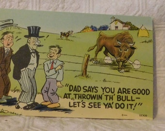 Vintage Dad Says You, Are Good At Thrown'th! Comic Postcard