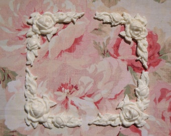 Shabby and Chic Rose & Leaf Corners (4 pcs) Furniture Appliques Architectural