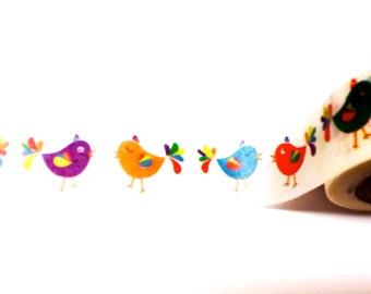 Colorful Bird Washi Tape, Washi Tape, Planner Washi, Planner Tape, Scrapbook Supplies, Bird Washi,