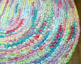 6'x5' Rainbow Area Rug *MADE AFTER PURCHASE* Hand Crocheted, Oval Rag Rug, Large Colorful Area Rug, Bright Area Rug, Braided Rug, Floor Rug