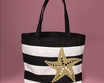 I Need Vitamin SEA Black and white Tote bag with zipper to shut