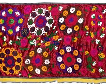 old uzbek fine silk hand-embroidery suzani flower rosettes a7593