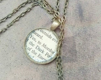 "Lord of the Rings ""To Mordor"" bookpage necklace"