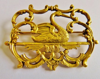 Museum Of Fine Arts Victorian Style Swan I Ornate Frame Brooch Pin