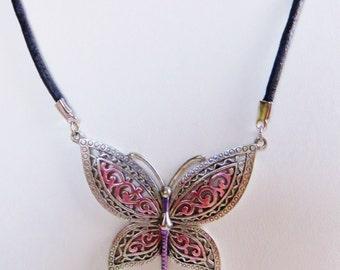 """JJ Jonette Silver Pewter Lace Butterfly 18""""Necklace"""