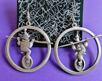 Limited Edition JJ Jonette Circus Clowns On Unicycle On High Wire Hoop Earrings