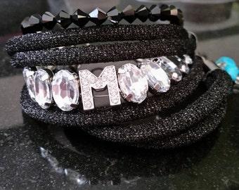 Sparkl black rope name Bracelet
