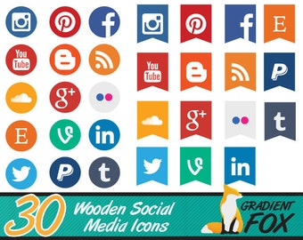 Social Media Icon Set - Round and Flags  Social Media Buttons - 30 Icons - Two Packs in One! - Instant Download
