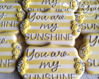 You Are My Sunshine Baby Shower First Birthday Cookies