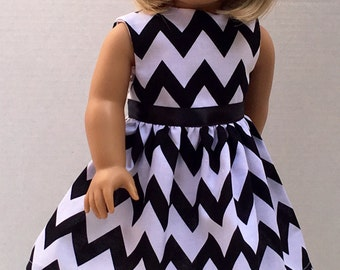 """18 inch Doll Clothes American Made Girl Doll Dress Fits 18"""" Doll -  Black and White Chevron"""