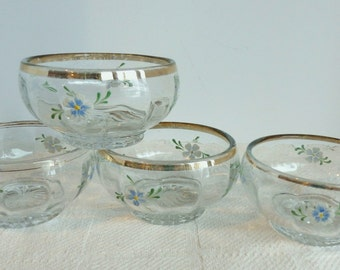 Clear Glass Berry Bowls with Enamel Floral Design