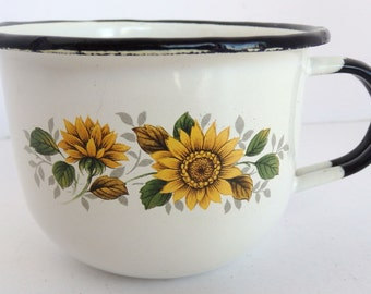 Enamelware Cup with Yellow Blossom