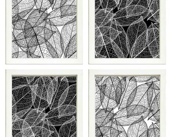 Leaves Leaf Wall Art Prints Set of 4 Black White Wall Decor Landscape Modern Abstract Minimalist Home Decor Wall Art